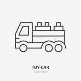 Toy car line icon, truck flat logo. Developing play vector illustration. Sign for kids shop. - 214213983