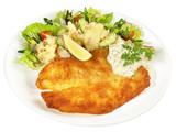 Backfisch mit Kartoffelsalat und Remoulade - 214214791