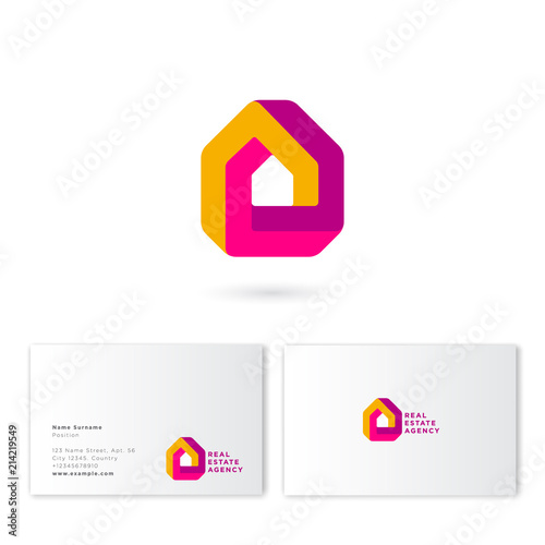 Real estate house logo. Impossible figure like a house. Construction, property company emblem. Business card.