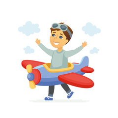 Boy in a pilot costume - cartoon people characters illustration