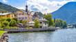 Leinwandbild Motiv Aussicht auf Tegernsee mit Rathaus