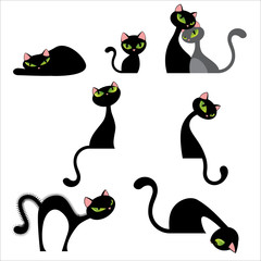 Even More Black Cat Poses Set Vector Illustration Isolated on White