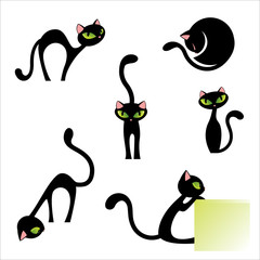 More Black Cat Poses Set Vector Illustration Isolated on White