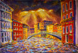 Painting Venice, Bright light from behind clouds shines on colorful houses. Venetian bridge, boats. Illustration Venice art - author landscape on canvas. City urban artwork impressionism