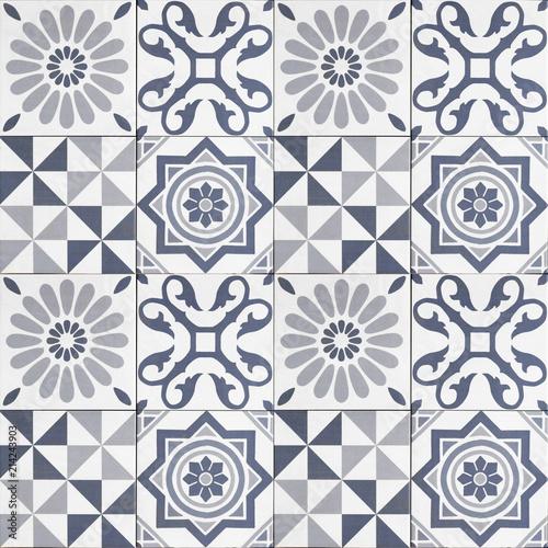 pattern tiles - geometric patchwork tile design - - 214243903