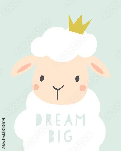 dream-big-plakat-przedszkola-dla-dzieci-slodkie-owce-z-korona-dziecko-ilustracja