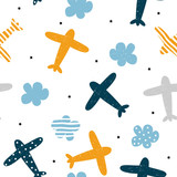 Plane and cloud seamless pattern. Cute kids print. Vector hand drawn illustration. - 214278514