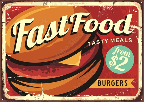 Burger retro sign decoration for fast food restaurant. - 214281723