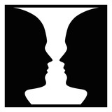 Figure-ground perception, face and vase. Figure-ground organization. Perceptual grouping. In Gestalt Psychology known as identifying a figure from background. Isolated illustration over white. Vector. - 214282524