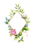 Watercolor vector hand painting composition from the flowers, green leaves and gold geometric frame. - 214314992
