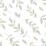 Watercolor vector hand painting seamless pattern with pastel branches and leaves. - 214315141