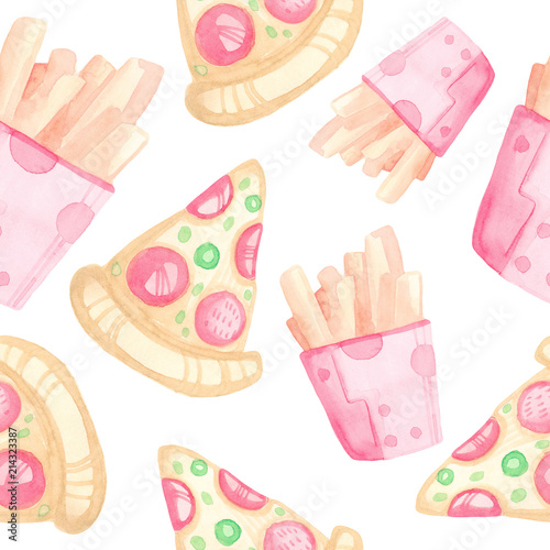 Cotton fabric Seamless watercolor pattern handmade with cartoon fast food. Pizza and French fries on a white background