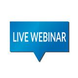 Blue Live webinar speech bubble on white background - 214330138