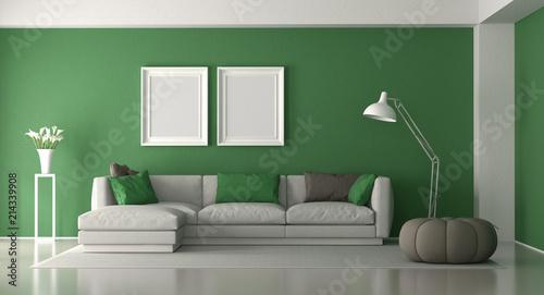 Leinwandbild Motiv White and green modern living room