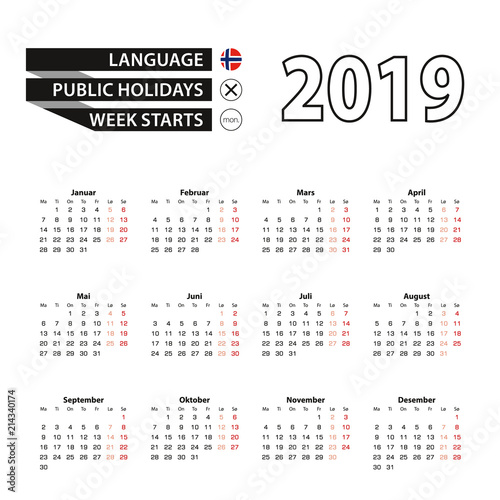 Calendar 2019 in Norwegian language, week starts on Monday.
