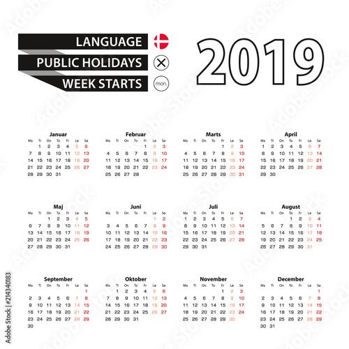 Calendar 2019 in Danish language, week starts on Monday.
