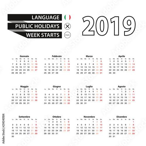 Calendar 2019 in Italian language, week starts on Monday.
