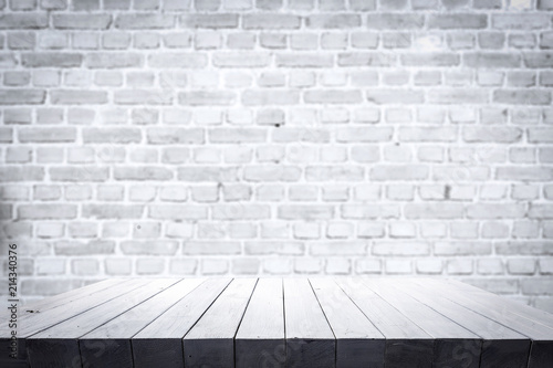 table background of free space and white wall.  - 214340376
