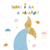 Mermaid tail with gold glitter element and slogan.  Cute kids print. Vector hand drawn illustration. - 214349374