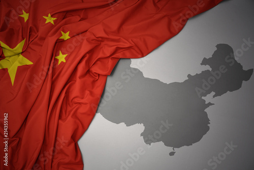 Foto Spatwand Peking waving colorful national flag and map of china.