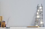 Modern minimalistic Christmas interior, Scandinavian style. 3D illustration. wall mock up - 214363943