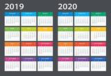 2019 2020 Calendar - illustration. Template. Mock up - 214367512