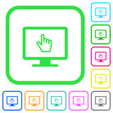 Monitor with pointing cursor vivid colored flat icons - 214368318
