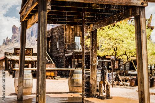 Foto Spatwand Oude verlaten gebouwen Wild West