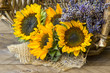 sunflowers and lavender in a basket