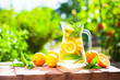 Leinwandbild Motiv Summer fresh cold drink beverages. Ice Lemonade in the jug and lemons and orange with mint on table