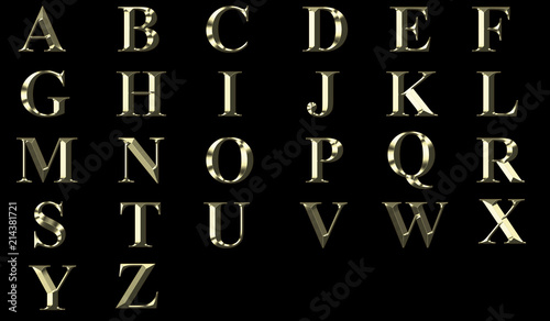 3D Gold alphabet in capital letters