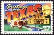 Greetings from Texas postcard on stamp