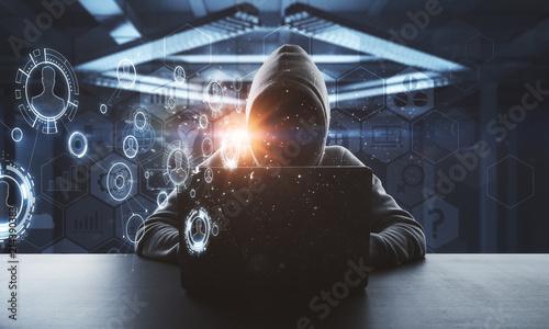 Leinwandbild Motiv no face hacker at digital technology interface