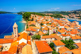 Town Rab on Croatian island from above - 214401347