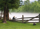 background. summer landscape woman with a camera at the wooden fence in the fog - 214417722