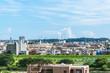 東京郊外の風景 青空と雲と住宅地2