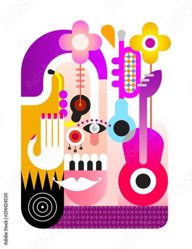 In de dag Abstractie Art Music Festival vector design