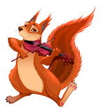 Funny squirrel is playing the violin. - 214425520