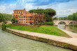 Quadro Tiber Island (Isola Tiberina) on the river Tiber in Rome, Italy.