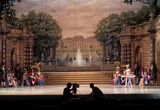 auditorium, view of the stage. ballet dancers silhouettes. Defocused entertainment concert lighting on stage.  - 214441926