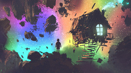night scenery of the boy and a house in a strange place, digital art style, illustration painting © grandfailure