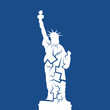 Statue of Liberty with cracks - declien decay, problems and failure leading to collapse of landmark of USA and UNited states of America. Vector illustration