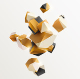Abstract golden composition with 3d cubes