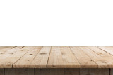 Empty wood table on isolated white background with display montage for product. - 214470308