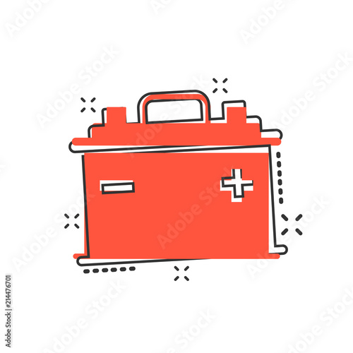 Vector Cartoon Car Battery Sign Icon In Comic Style Energy Power