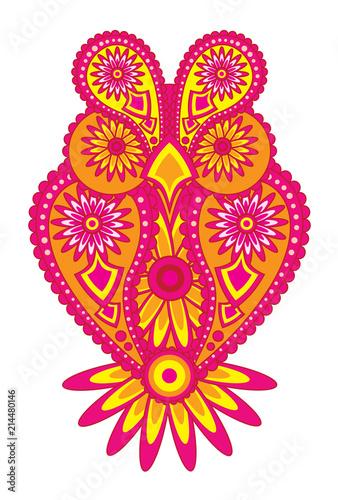 Fotobehang Uilen cartoon Paisley Pattern Owl Color vector Illustration drawing
