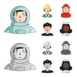 An astronaut in a spacesuit, a co-worker with a microphone, a fireman in a helmet, a policeman with a badge on his cap. People of different professions set collection icons in cartoon,monochrome style