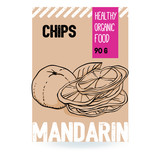 Beautiful vector hand drawn Mandarin organic fruit chips.Template elements collection for packaging design. Modern illustrations isolated on white background.