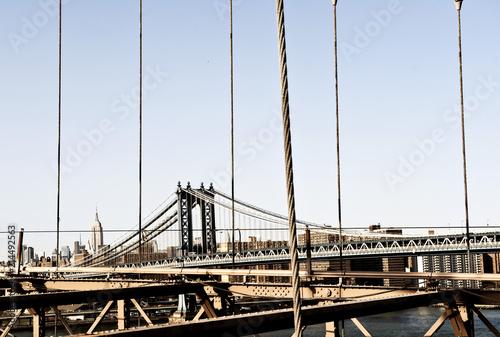 Foto Spatwand Brooklyn Bridge Brooklyn Bridge zwischen Manhattan und Brooklyn, links Empire State Building, New York City, New York, Vereinigte Staaten von Amerika, USA