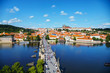 Leinwanddruck Bild - Aerial overview of Prague